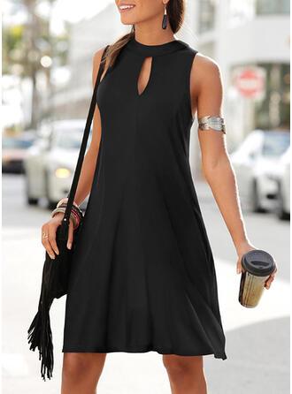 Einfarbig Ärmellos A-Linien Knielang Freizeit Kleider