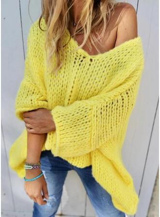 Einfarbig Grobstrick V-Ausschnitt Freizeit Pullover