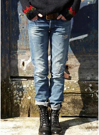 Shirred Übergröße Lange Lässige Kleidung Stammes Denim Jeans