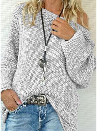 Einfarbig Grobstrick Rundhalsausschnitt Freizeit Pullover