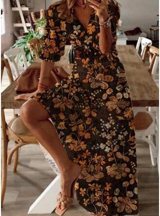 Druck/Blumen 1/2 Ärmel A-Linien Freizeit Maxi Kleider
