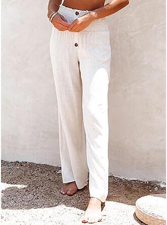 Solid Long Casual Plus Size Button Lounge Pants