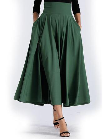 Polyester Einfarbig Midi A-Linie Röcke
