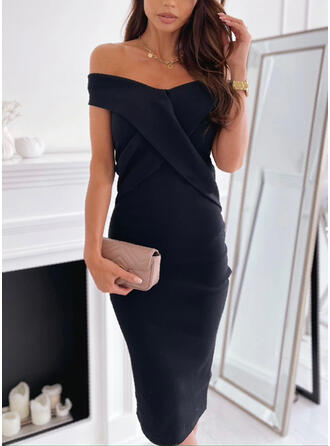 Solid Knit Short Sleeves Cap Sleeve Bodycon Elegant Midi Dresses