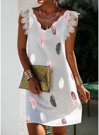 Print Lace Short Sleeves Small Flying Sleeve Shift Above Knee Casual Dresses