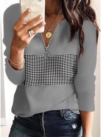 Print Plaid V-Neck Long Sleeves Casual Blouses
