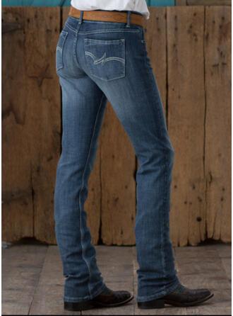 Shirred Übergröße Elegant Jahrgang Denim Jeans