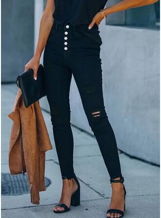 Einfarbig Übergröße Zerrissen Sexy Dünn Hosen