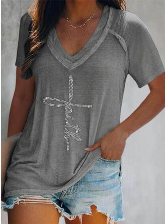Figur Pailletten V-Ausschnitt Kurze Ärmel T-Shirts