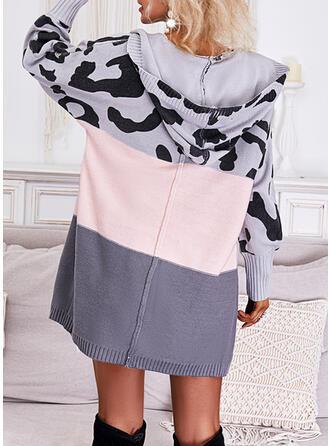 Print Color Block Leopard Hooded Casual Cardigan
