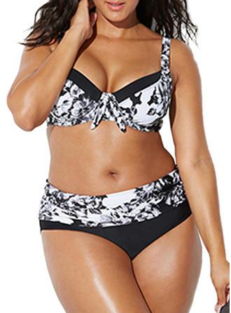 Bunt Bügel Hochdrücken Träger Elegant Übergröße Bikinis Badeanzüge