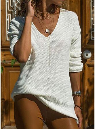 Einfarbig Gitter V-Ausschnitt Pullover