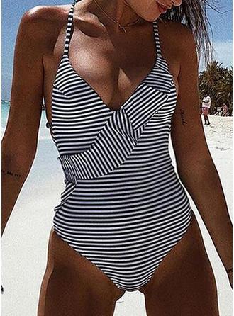 Gestreift Neckholder V-Ausschnitt Sexy Badeanzüge Bademode