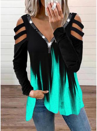 Gradient Print Sequins Cold Shoulder Long Sleeves T-shirts