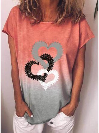 Gradient Herz Druck Rundhalsausschnitt Kurze Ärmel T-Shirts
