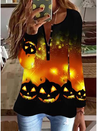 Halloween Print V-Neck Long Sleeves Casual Blouses