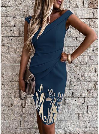 Print/Floral Sleeveless Bodycon Knee Length Party/Elegant Dresses