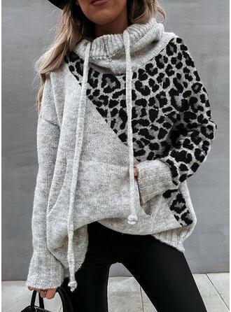 Geblockte Farben Taschen Leopard Mit Kapuze Freizeit Pullover