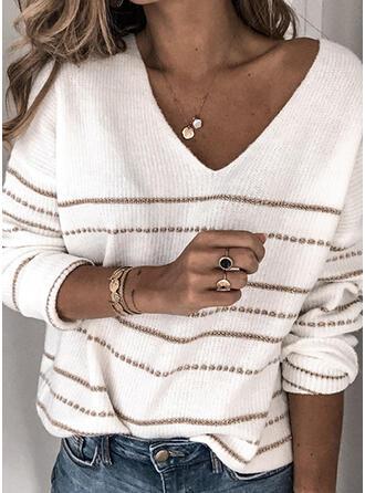 Gestreift V-Ausschnitt Freizeit Pullover