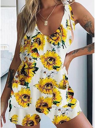 Blumen Druck V-Ausschnitt Ärmellos Lässige Kleidung Urlaub Strampler