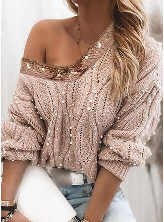 Einfarbig Zopfmuster Pailletten Perlen V-Ausschnitt Freizeit Pullover