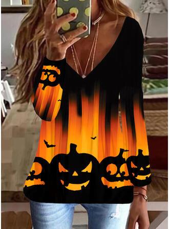 Halloween Print Animal V-Neck Long Sleeves T-shirts