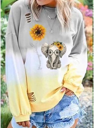 Print Sunflower Print Gradient Animal Round Neck Long Sleeves Sweatshirt