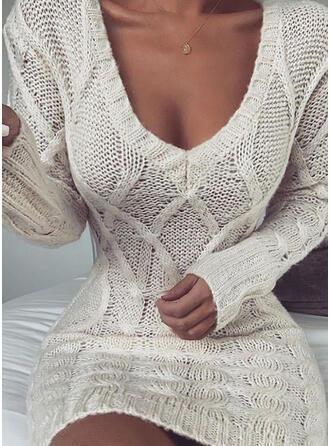 Einfarbig Zopfmuster V-Ausschnitt Freizeit Lang Pulloverkleid