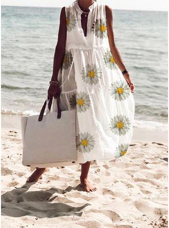 Druck/Blumen Ärmellos Shift Freizeit/Urlaub Midi Kleider