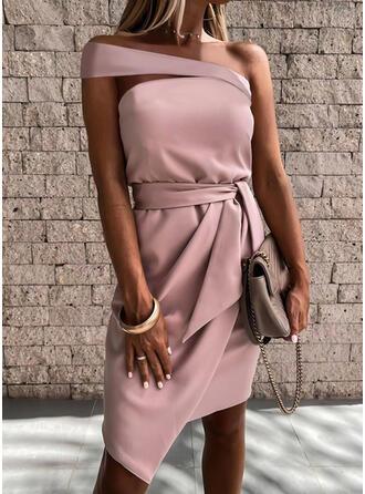Einfarbig Ärmellos Etui Asymmetrisch Elegant Kleider
