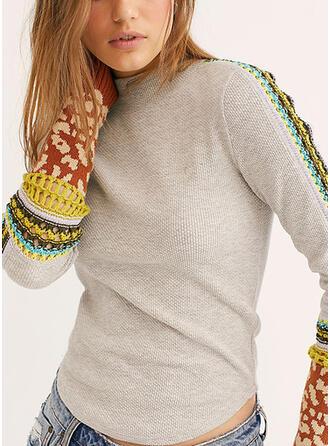 Drucken Stehkragen Freizeit Pullover