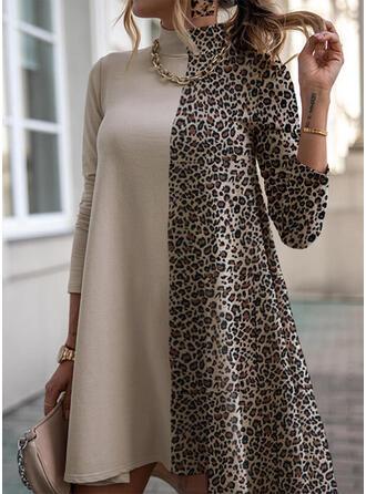 Leopard Lange Ärmel Shift Über dem Knie Freizeit Tunika Kleider