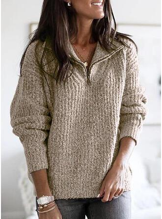 Einfarbig Gerippt Grobstrick Revers Freizeit Pullover