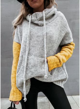 Geblockte Farben Taschen Mit Kapuze Freizeit Pullover
