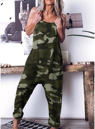 Camouflage Strap Sleeveless Casual Jumpsuit