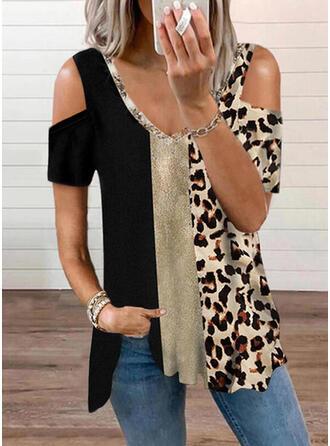 Color Block Leopard Print Cold Shoulder Short Sleeves T-shirts