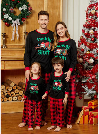 Karierte Schreiben Karikatur Passende Familie Christmas Pajamas