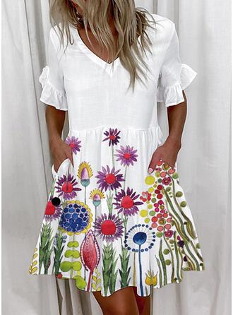 Druck/Blumen Kurze Ärmel Shift Über dem Knie Freizeit Tunika Kleider