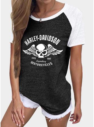 Farbblock Figur Druck Rundhalsausschnitt Kurze Ärmel T-Shirts
