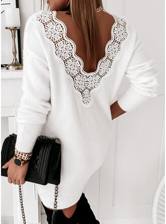 Solid Lace/Knit Long Sleeves Shift Above Knee Casual Sweater Dresses