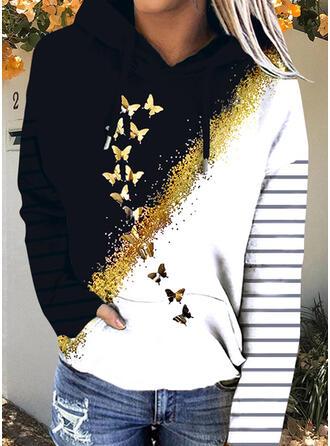 Print Color Block Striped Butterfly Hooded Long Sleeves Hoodie