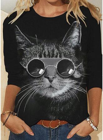 Print Animal Round Neck Long Sleeves T-shirts