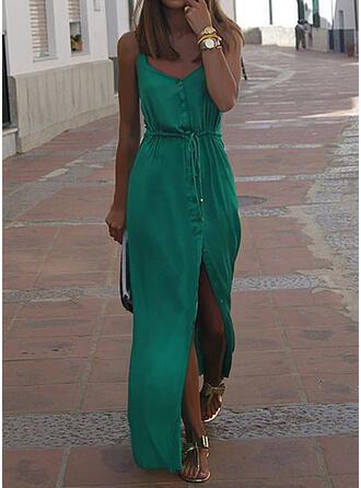 Einfarbig Ärmellos A-Linien Freizeit/Urlaub Maxi Kleider