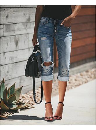 Solid Denim Capris Casual Plus Size Office/Business Pocket Ripped Denim & Jeans