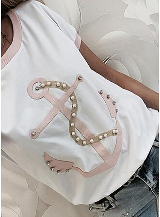 Perlen Druck Pailletten Rundhalsausschnitt Kurze Ärmel T-Shirts
