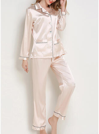 V-Neck Long Sleeves Solid Color Casual Top & Pants Sets