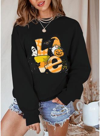 Halloween Print Letter Animal Round Neck Long Sleeves Sweatshirt