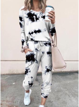 Übergröße Tie Dye Kordelzug Lässige Kleidung Sportlich Anzüge
