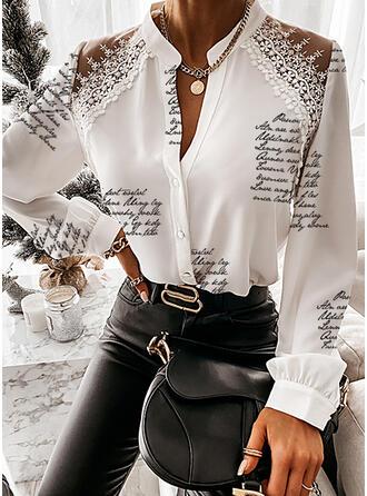 Drucken Spitze Figur V-Ausschnitt Lange Ärmel Mit Knöpfen Elegant Hemdblusen