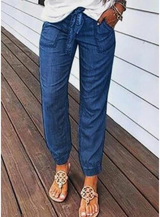 Taschen Shirred Lange Lässige Kleidung Lange Baumwollstoff Hosen Denim Jeans